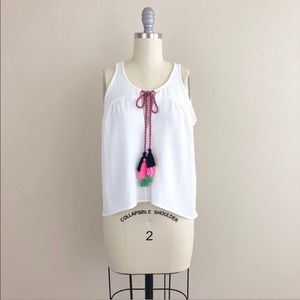 Romeo and Juliet Couture Tassled Split Neck Tank